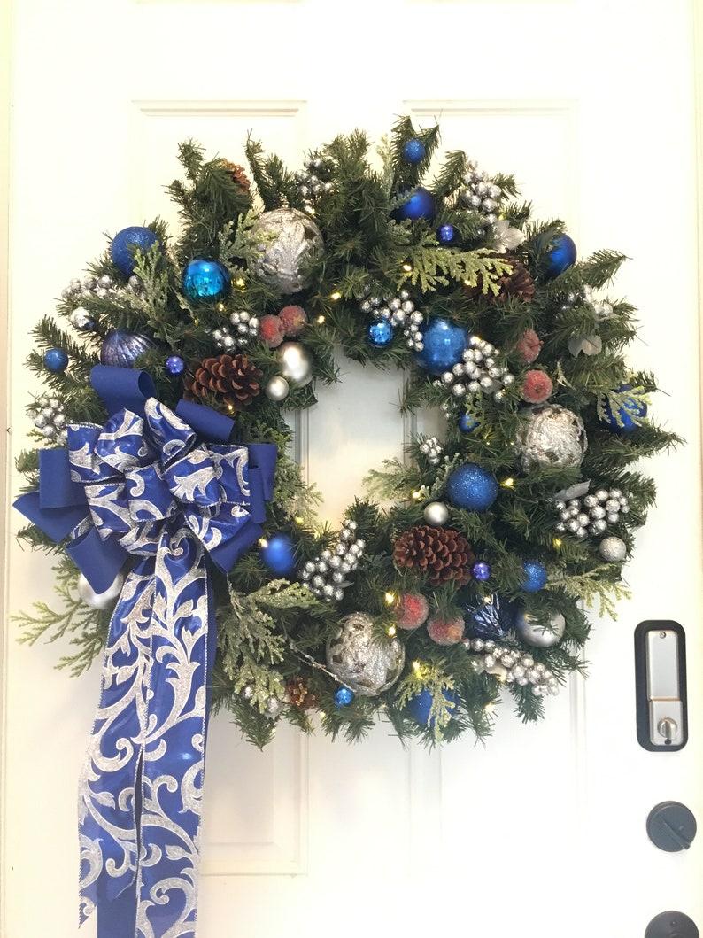 Christmas Wreath Free Shipping Blue Silver Wreath 30inch Etsy