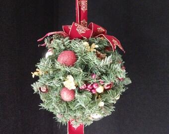 "Christmas Wreath, Kissing Ball.  Lighted kissing ball, Mistletoe, Burgundy Kissing Ball,  Holiday Decor, 11""diameter,"