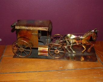 Fab Vintage Metal Large Horse And Carriage / Buggy
