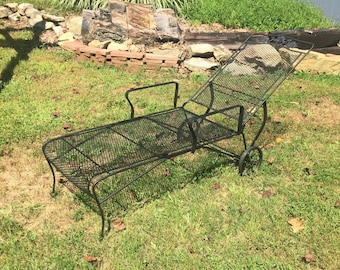 Reserved / Sold  Fab Vintage Original Wrought Iron Woodard Flower Pattern  Patio Chair Lounger