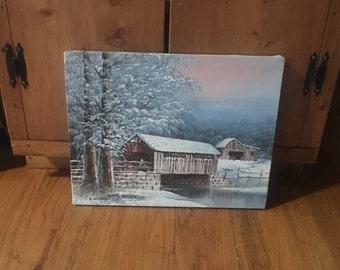 Vintage 70's Era Artist Signed Barn Covered Bridge Oil Painting Michaelson