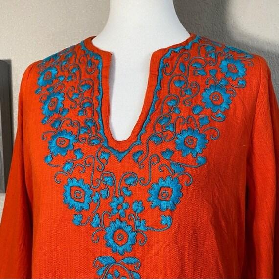 Vintage 60's Flower Embroidered Orange Cotton Top - image 2