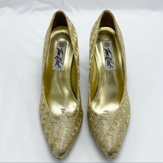 Vintage 80's Gold Lamee Brocade Fabric Heels Shoes