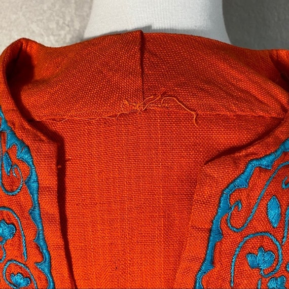 Vintage 60's Flower Embroidered Orange Cotton Top - image 9