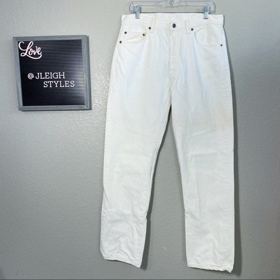Vintage Natural White Levi's 501 Button Fly Jeans