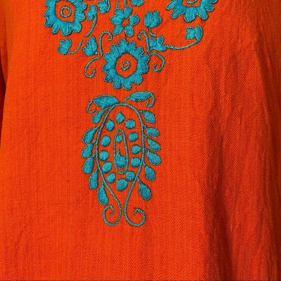Vintage 60's Flower Embroidered Orange Cotton Top - image 3