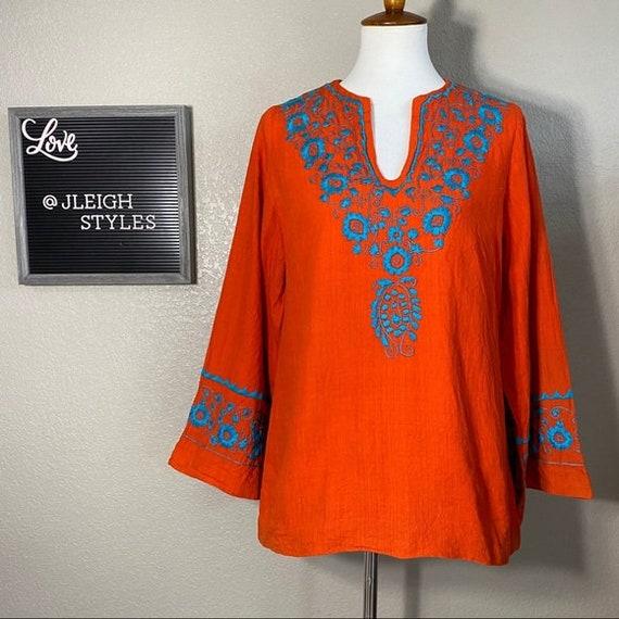 Vintage 60's Flower Embroidered Orange Cotton Top