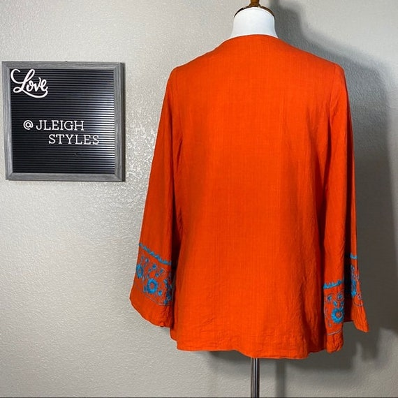 Vintage 60's Flower Embroidered Orange Cotton Top - image 7
