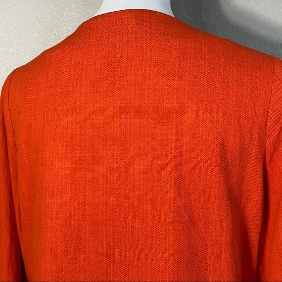 Vintage 60's Flower Embroidered Orange Cotton Top - image 8