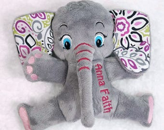 Personalized Elephant Stuffed Animal, Handcrafted Toy Elephant Plushie