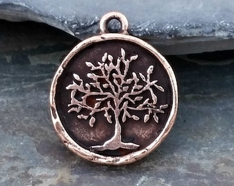 Copper Tree of Life Coin Charm Pendant Pewter N34,tree of life pendant,copper tree of life charm,tree of life coin,copper coin charm