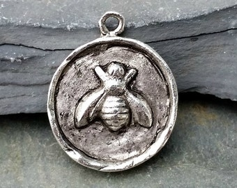 Bee Coin Charm Pendant Antiqued Silver N-18,silver bee pendant,large bee charm,silver bee charm,bee pendant,wax seal charm,honey bee pendant