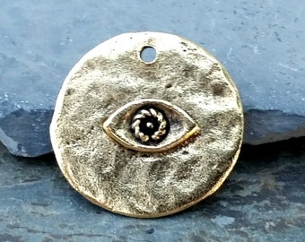 Gold Eye Pendant Charm Hammered Disc Boho Antiqued Golden Pewter C-154,evil eye pendant,boho pendants,gold eye pendant,gold evil eye charm