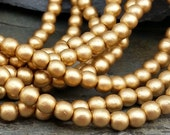 4mm Gold Pearl Round Druk Beads Czech Glass CZ317,gold druk beads,matte gold beads,matte bronze beads,matte metallic bead,gold glass bead