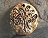 25mm Tree of Life Pendant Round Hammered Gold Pewter C-83,tree of life pendant,gold tree of life,hammered pendants,ancient pendants