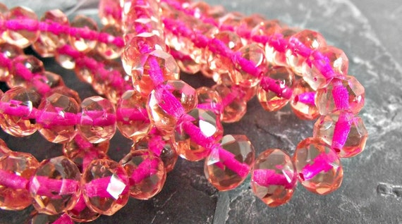 8x6mm Pink Rose and White Czech Fire polished Rondelle beads 25 beads