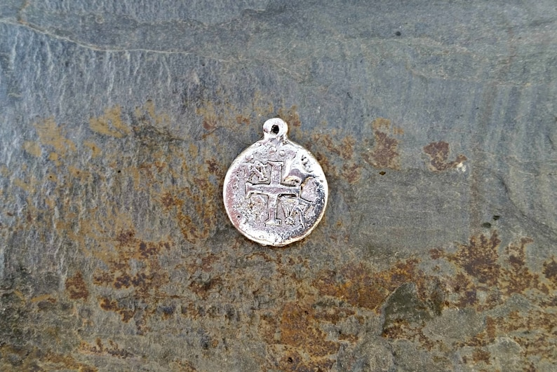 Silver Ancient Cross Coin Pendant Hammered Bohemian Silver image 0