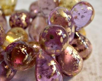 25 Venetian Mixed Drops Czech Glass Amethyst Yellow Gold CZ214,glass teardrop beads,venetian drop beads,purple glass drops,czech glass drops
