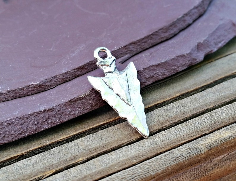arrowhead charm,arrowhead pendant,native charm,southwest charm Silver Arrowhead Charm Hammered Pewter Bohemian Antique Rustic C-101