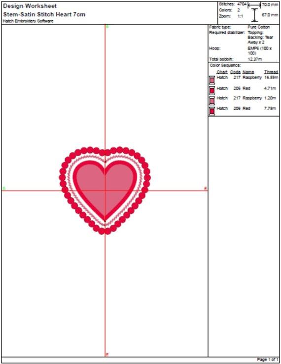 Heart shape machine embroidery design - 4 Colour