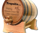 FREE SHIPPING 3 Liter Tequila Barrel- Engraved American White Oak Barrel- Tequila Design Barrel- Tequila Dispenser-Distillery Grade Barrel