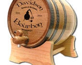 20 Liter Personalized Oak Whiskey Barrel- American White Oak Barrel-Charred Barrel- Black Hoop- Steel Hoop Custom Oak Barrel