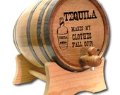 10 Liter Barrel- Tequila Barrel- Whiskey Barrel- Engraved American White Oak Barrel- Tequila Clothes Fall Off- Age Your Own