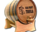 FREE SHIPPING 3 Liter Tequila Barrel- Engraved American White Oak Barrel- Dead Man 39 s Tequila- Tequila Dispenser-Distillery Grade Barrel