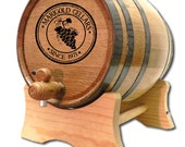 10 Liter Personalized Oak Wine Barrel- Custom Wine Barrel- American White Oak- Wine Cellar Design- Custom Oak Whisky Barrel