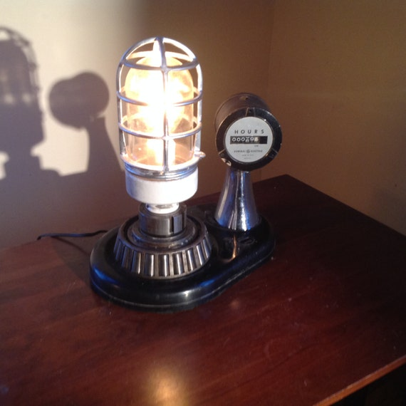 Industrial repurposed custom made lamp with hour meter Explosion proof cage Steampunk light Upcycled