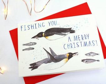 Fishing You... A Merry Christmas! - Penguin Christmas Card