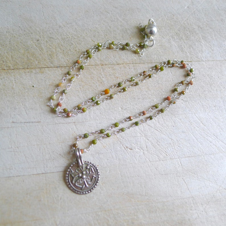 Magnetic Clasp Unakite Rosary 18 Unakite Wire Wrapped Beaded Rosary Necklace with Antique Silver Durga Pendant Vintage Shiva Pendant