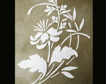 Stencil, Wall Stencil, Plaster Stencil, Furniture Stencil,  Budding Bloom