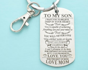 Son Keychain In Stainless Steel Teen Boy Gift Birthday 16th 18th From Mom To