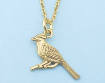 """Cardinal necklace in gold plated pewter on a 20"""" gold  plated cable chain.  Cardinal necklace. Cardinal charm.  Cardinal Jewelry."""