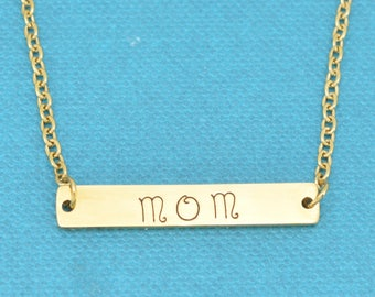 Gold Bar necklace with Mom hand stamped on it in gold plated stainless steel.  Gift for mom.  Layering necklace.  Mom gift.