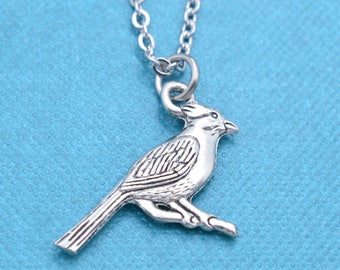 """Cardinal necklace in silver pewter on a 20"""" stainless steel cable chain.  Cardinal necklace. Cardinal charm.  Cardinal Jewelry."""