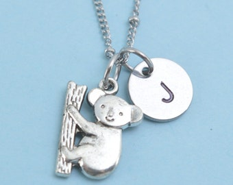 Antique Silver Pewter Koala Bear Necklace, personalized with hand stamped stainless steel initial charm. Koala necklace. Koala bear.