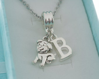 Little Girl's puppy dog necklace in silver personalized with initial.   Little girls jewelry.  Little girl necklace.  Puppy necklace.
