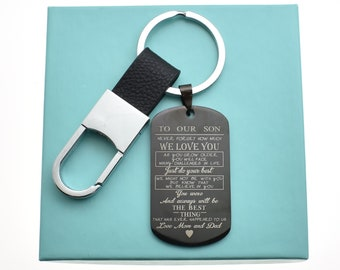 Son Keychain In Black Stainless Steel Teen Boy Gift Birthday 16th 18th To Love Mom Dad