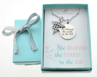"""Dental Assistant Graduation Gift Necklace with stainless steel word tag that reads """"She Believed She Could So She Did"""". Dental Assistant."""