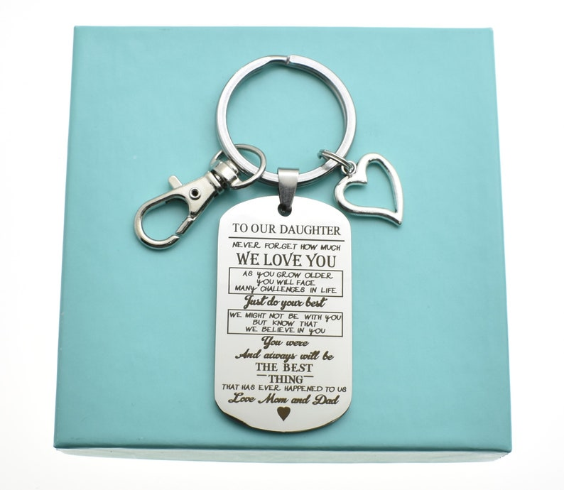 16th birthday gift Gift to daughter love Mom /& Dad. Teen girl birthday gift Daughter keychain in stainless steel 18th birthday gift