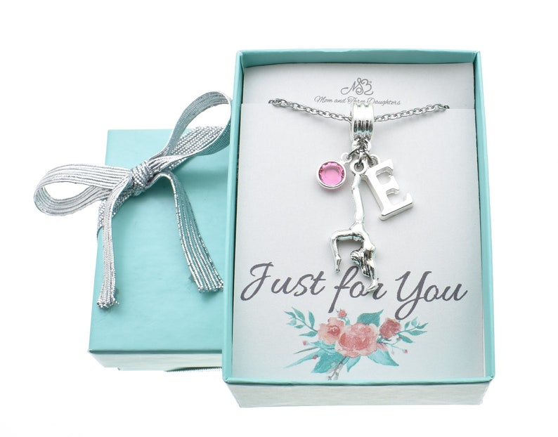 Little Girl's personalized gymnast necklace in silver toned metal  personalized with initial and Swarovski birthstone  Gymnastics necklace