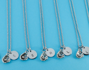 Antique Silver Pewter Softball Necklaces, personalized with hand stamped stainless steel initial charm on a stainless steel chain.