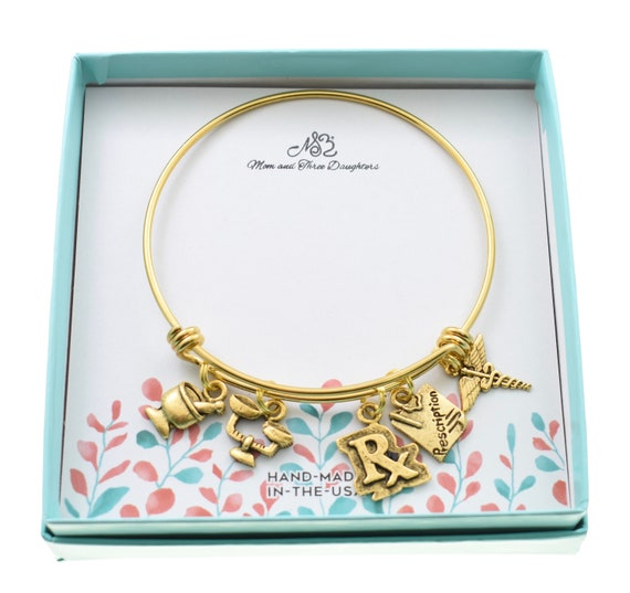 Gift of Pharmacist Pharmacy graduation Pharmacist bangle bracelet in gold stainless steel with gold plated pewter charms Pharmacy student