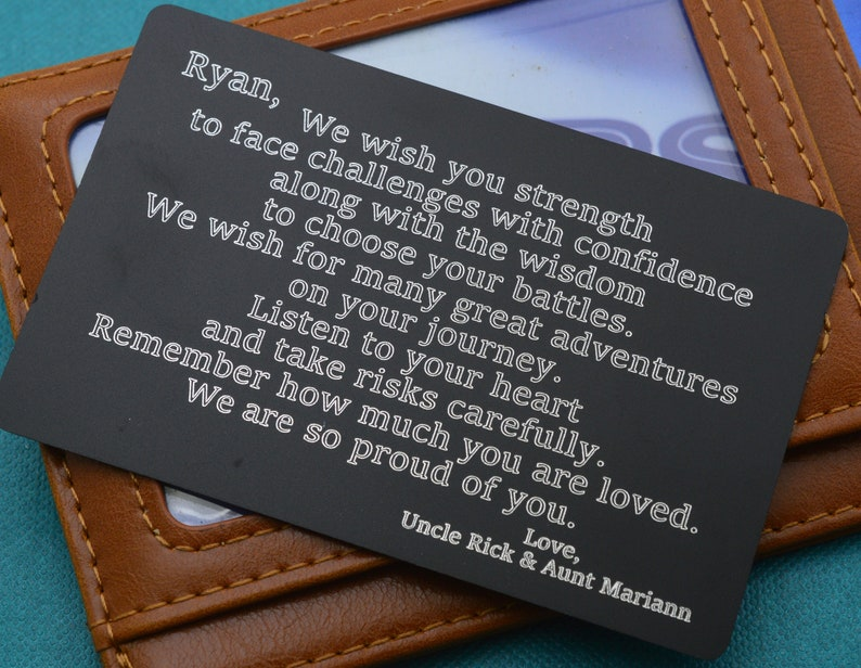Ships in one business day  Custom Wallet card for son  Graduation gift   Deployment gift  Going away gift  High School Graduation