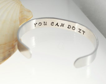 Hidden message bracelet in aluminum - You Can Do It in the inside of the bracelet.