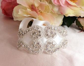Bridal bracelet, cuff bracelet, bouquet wrap, cristal bracelet bisous