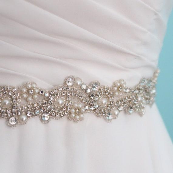 grossiste 14f00 73613 ceinture bijou, ceinture perle et cristaux Swarovski, ceinture mince,  ceinture mariage, ceinture Renée, ceinture pour robe de mariage