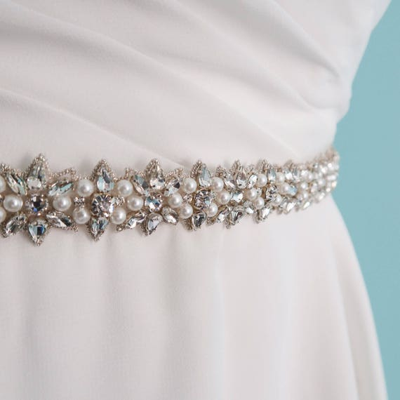 data di rilascio: f9d06 22ea9 cintura di cordone di perle e strass, gioielli, Abito, matrimonio cintura  cinghia cintura, Abito da sposa, Swarovski, cinghia